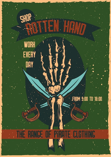 T-shirt or poster design with illustraion of a hand with swords. Free Vector