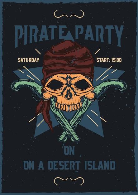 T-shirt o poster design con illustrazione del teschio pirata con le pistole. Vettore gratuito