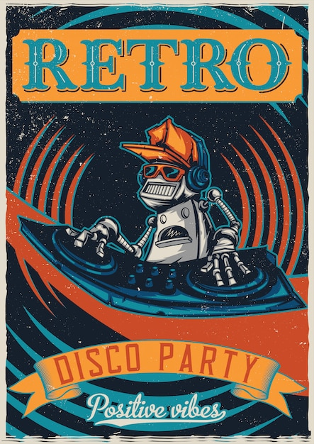 T-shirt or poster design with illustraion of robot disc jockey Free Vector
