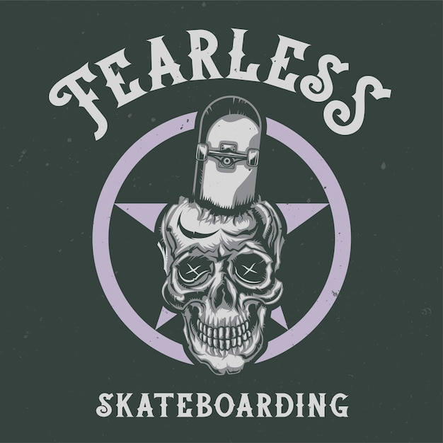 T-shirt or poster design with illustraion of skull with skateboard Free Vector