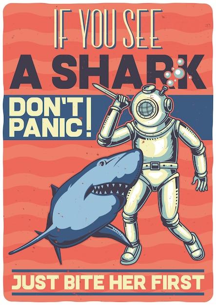 T-shirt o poster design con illustrazione di un subacqueo con uno squalo. Vettore gratuito