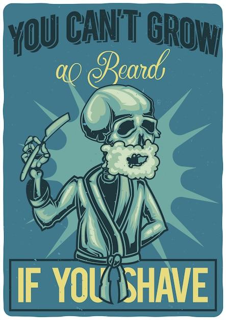 T-shirt o poster design con illustrazione di un uomo che si rade. Vettore gratuito