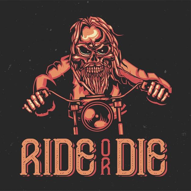 T-shirt or poster design with illustration of a skeleton on bike. Free Vector