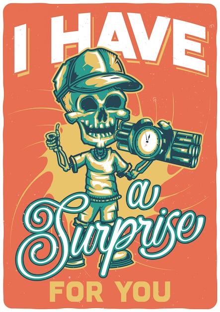 T-shirt o poster design con illustrazione di uno scheletro con una bomba. Vettore gratuito