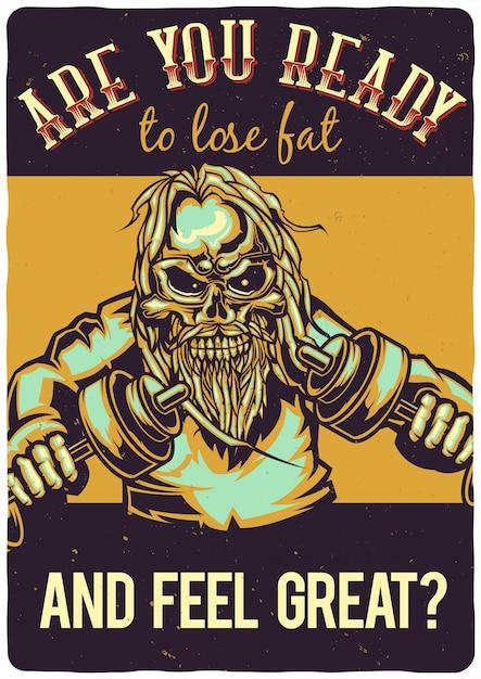 T-shirt o poster design con illustrazione di uno scheletro con manubri. Vettore gratuito