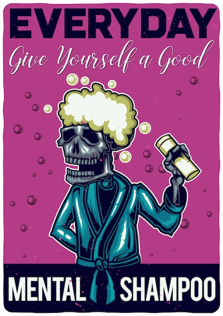 T-shirt or poster design with illustration of a skeleton with shampoo. Free Vector