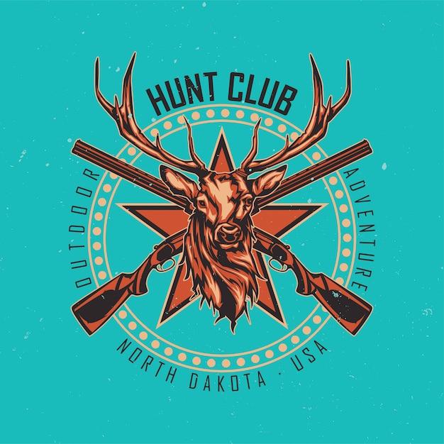 T-shirt o poster design con illustrazione di due fucili e testa di cervo Vettore gratuito
