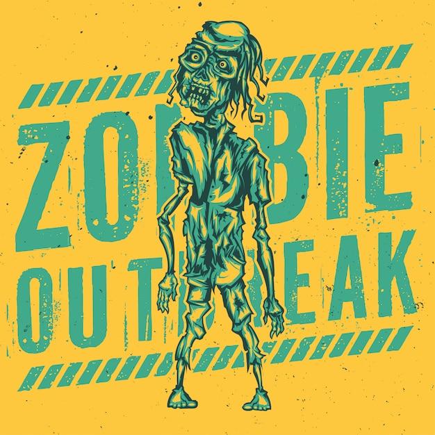 T-shirt o poster design con illustrazione di zombie Vettore gratuito