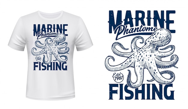 T-shirt print, marine fishing club, ocean octopus Premium Vector