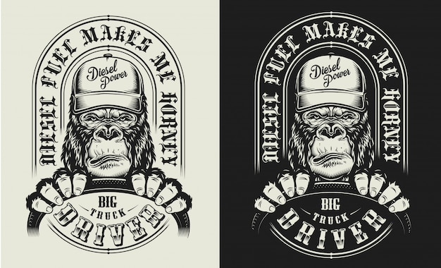 T-shirt print with gorilla concept Free Vector