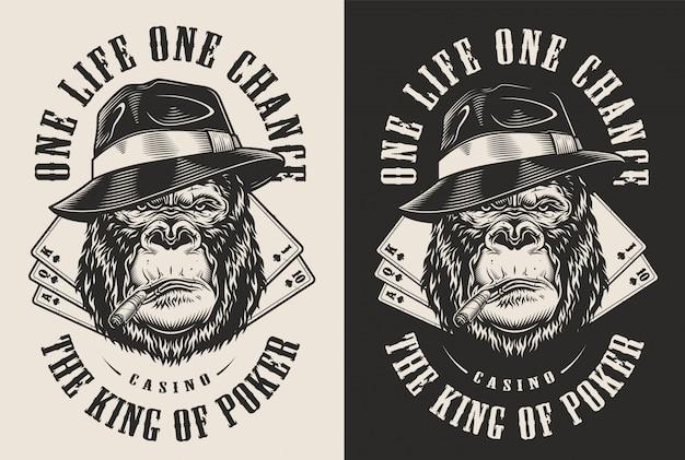 Stampa t-shirt con il concetto di gorilla Vettore gratuito