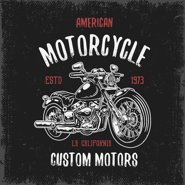 T-shirt print with hand drawn motorcycle on dark background and grunge texture Free Vector