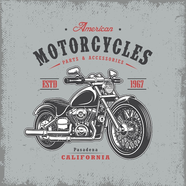 T-shirt print with motorcycle on light background and grunge texture Free Vector