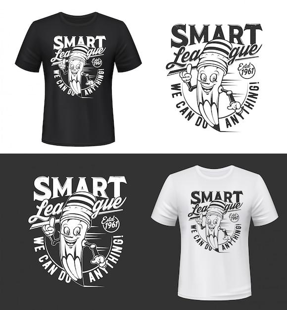 T-shirt print  with smiling pencil Premium Vector