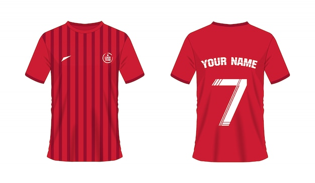 T-shirt red soccer or football template for team club. jersey sport Premium Vector