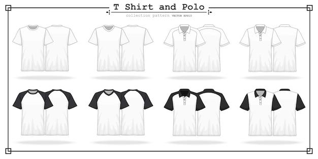 T shirt round and v neck Premium Vector
