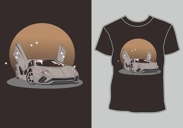 Tシャツスポーツカーレース Premiumベクター
