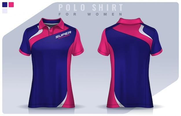 女性のためのtシャツスポーツデザイン、サッカークラブのためのサッカージャージーモックアップ。ポロのユニフォームテンプレート。 Premiumベクター
