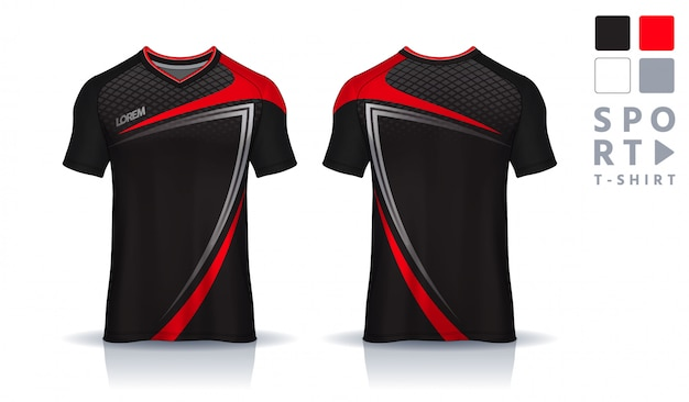 T-shirt sport design template, soccer jersey mockup for football club. uniform front and back view. Premium Vector