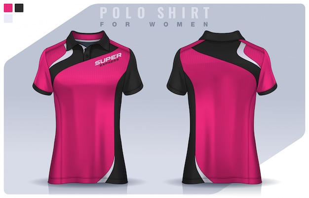 T-shirt sport design for women, soccer jersey  for football club.  polo uniform template. Premium Vector