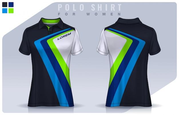 T-shirt sport design for women, soccer jersey  for football club.  polo uniform template. Premium Vector