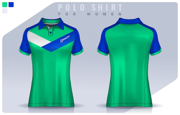 T-shirt sport design for women, soccer jersey mockup for football club.  polo uniform template. Premium Vector