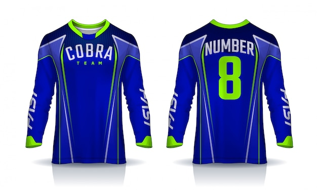 T-shirt sport  template, long sleeve soccer jersey Premium Vector