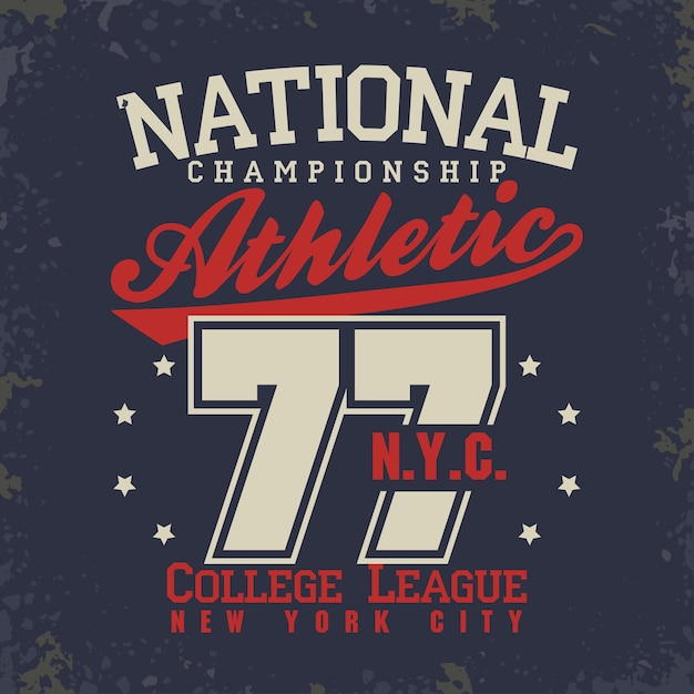 T-shirt stamp graphics, new york college sport wear typography emblem, tee print, athletic apparel . Premium Vector