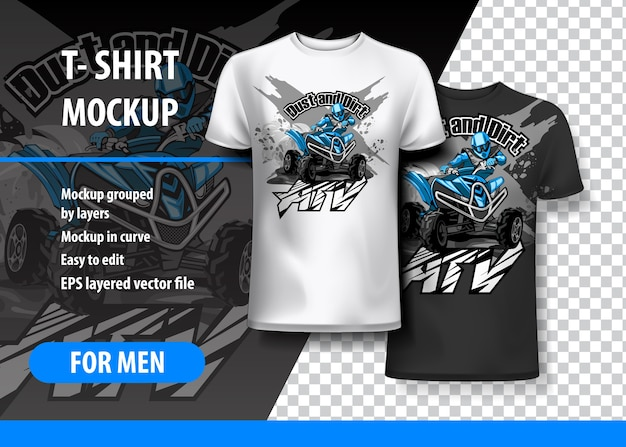 T-shirt template, fully editable Premium Vector