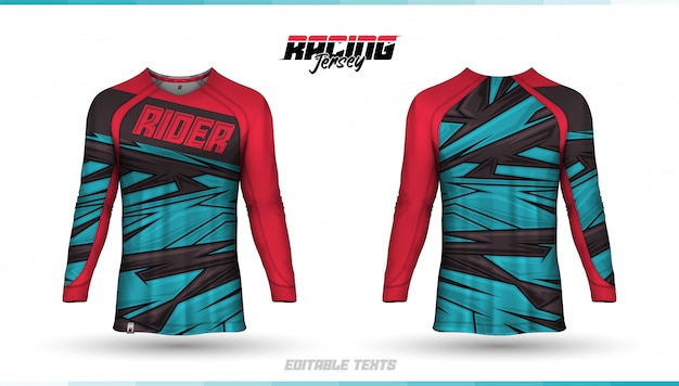 Шаблон футболки, дизайн гоночного трикотажа, футбольный джерси Premium векторы