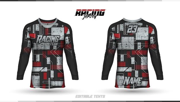 T-shirt template, racing jersey design, soccer jersey Premium Vector