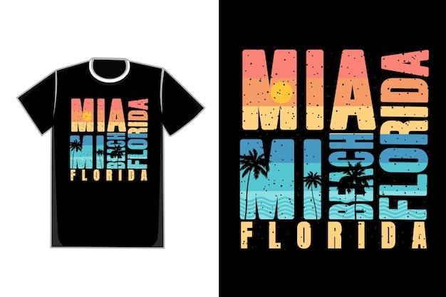 Tシャツタイポグラフィマイアミビーチフロリダサンセットスタイルレトロ Premiumベクター