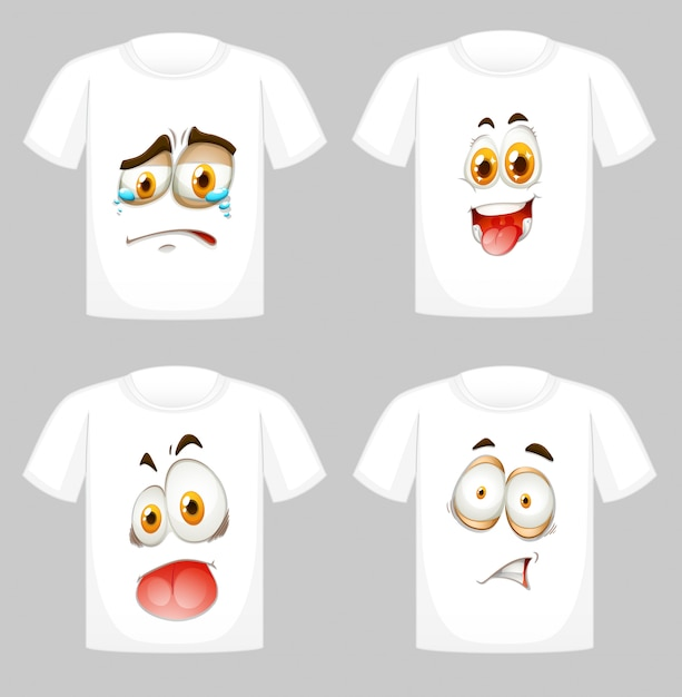 T-shirt with faces in front Free Vector