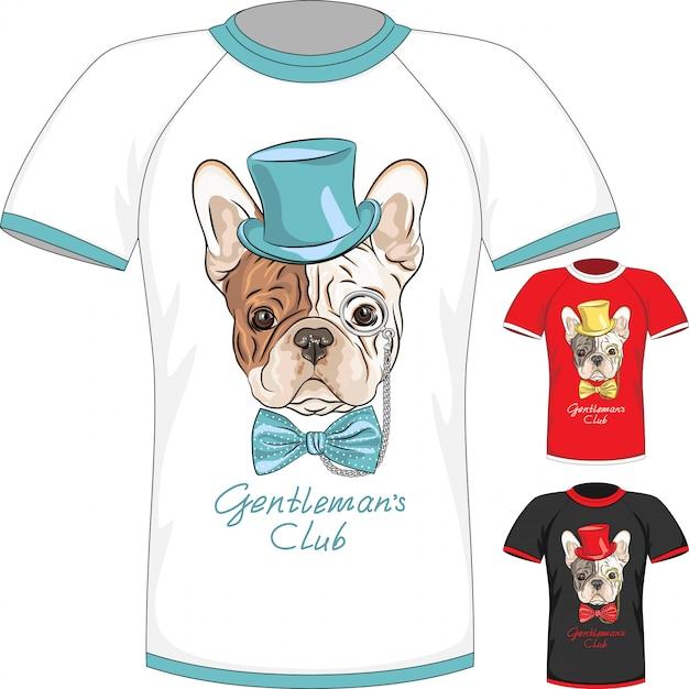 T-shirt with french bulldog dog gentleman Premium Vector