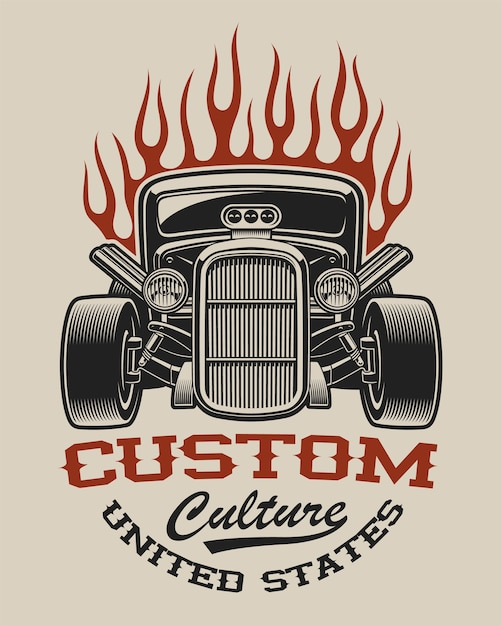 T-shirt  with a hot rod in vintage style on the white background. Premium Vector