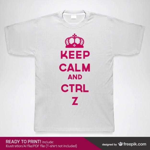 T-shirt with pink keep calm message Free Vector