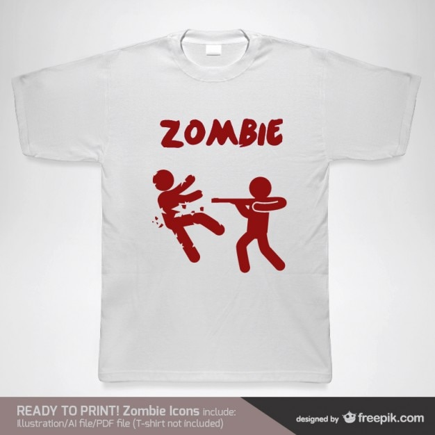 T-shirt with red zombies Free Vector