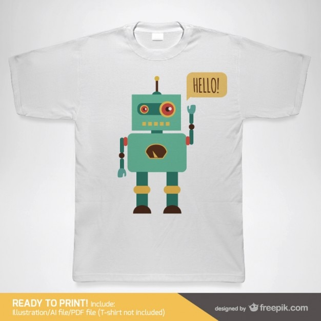 T-shirt with a robot Free Vector