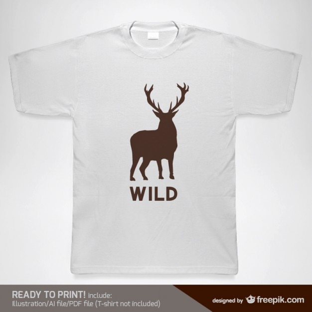 T-shirt with a wild deer silhouette Free Vector