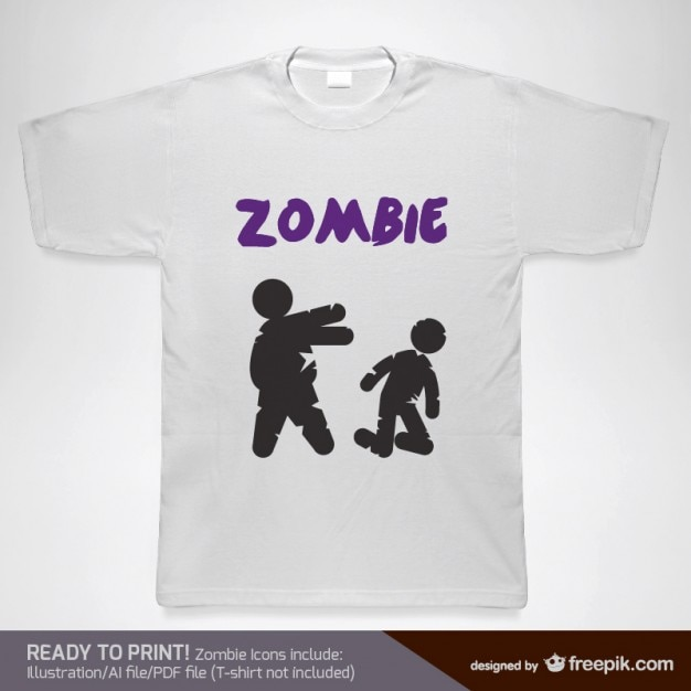 T-shirt with zombies Free Vector