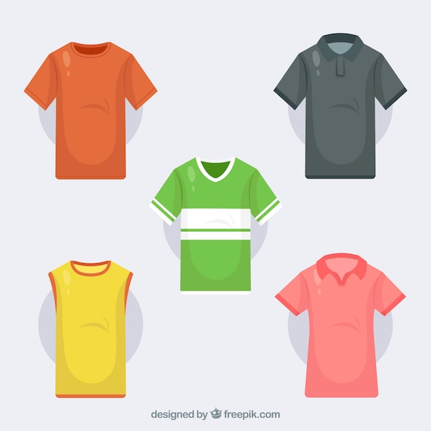T-shirts collection in different colors Free Vector