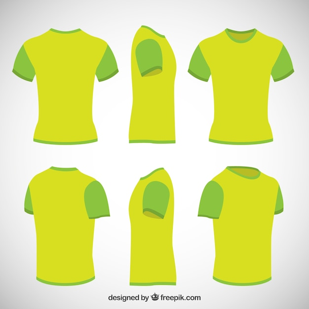 T shirts in lime green color Free Vector