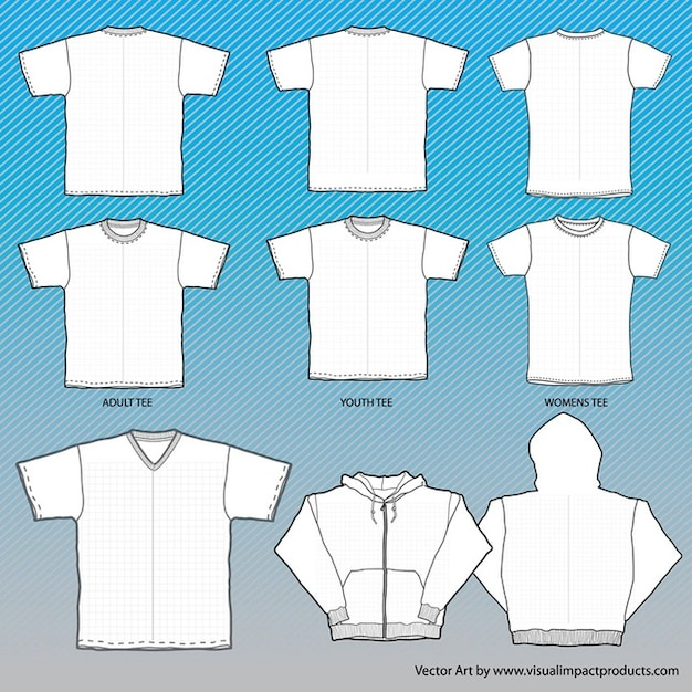 T-Shirts Mock-Up Templates with Grid Vector | Free Download
