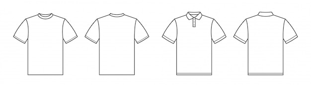 T-shirts. polo shirt. tshirt front and back view. outline style Premium Vector