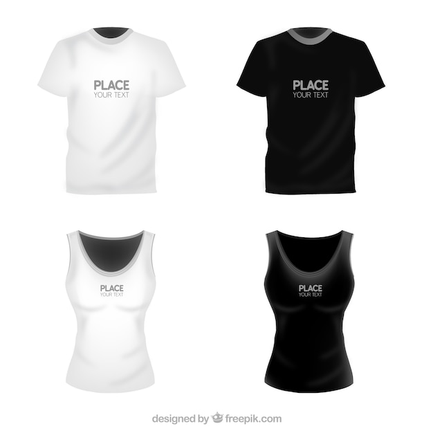 T shirts template for woman and man Free Vector