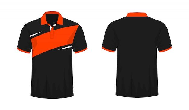 Tシャツポロオレンジと黒のtイラスト Premiumベクター