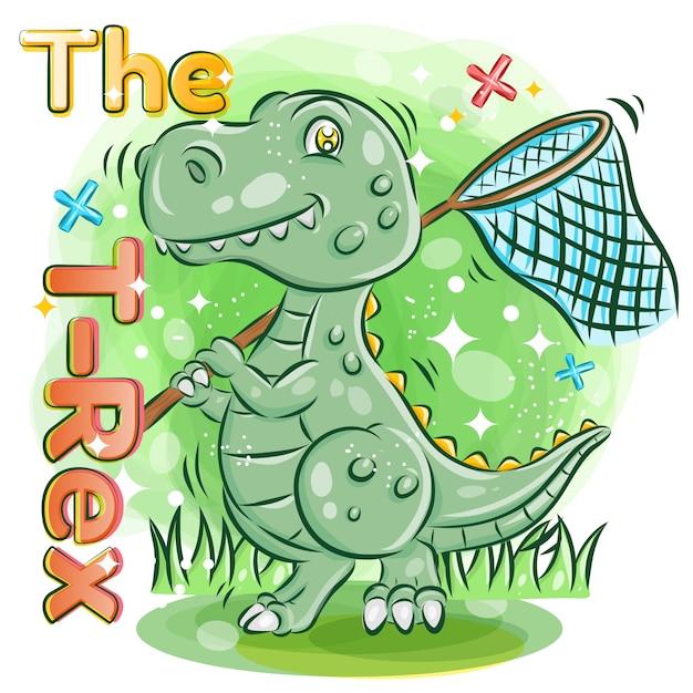 かわいいtレックスは、the garden.colorful漫画イラストでバタフライネットを保持しています。 Premiumベクター