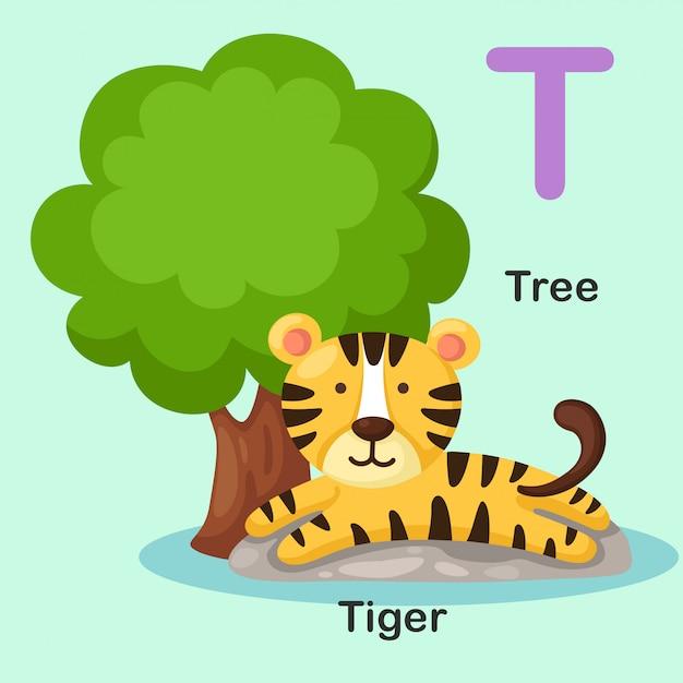 Иллюстрация изолированных животных алфавит буква t-tree, тигр Premium векторы