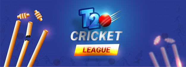 T20 cricket league header Premium Vector