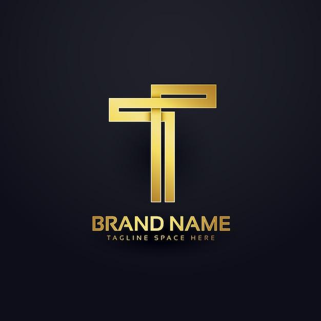 文字tのロゴコンセプトデザイン、プレミアムゴールデン Premiumベクター